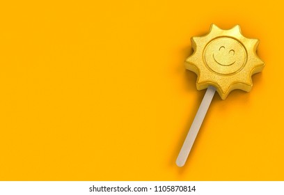 popsicle ice lolly in shape of a loughing sun as a symbol for the summer on orange background with copy space - 3d rendering