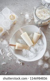 Popsicles made from pineapple and coconut