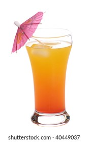 A popular alcoholic beverage called a Tequila Sunrise, shot with an umbrella in it, isolated against a white background