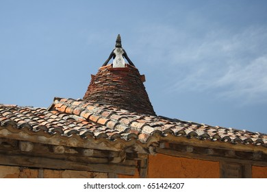 Popular architecture in Soria, Spain,Calatañazor, chimenead and branches with mud, adobe,