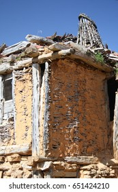 Popular architrecture in Soria, Spain,Calatañazor, chimenead and branches with mud, adobe,
