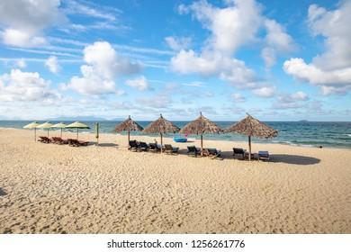 The popular area of An Bang beach near Hoi An in Vietnam