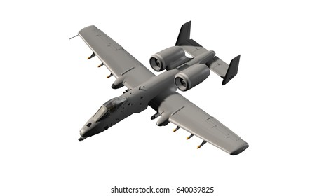 Popular armed US military ground attack aircraft in flight - isolated on white - 3d render