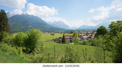popular bavarian spa town wallgau in the valley, view to karwendel mountains