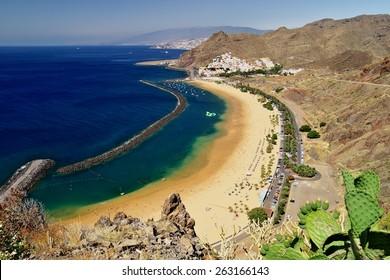Popular beach Playa de Las Teresitas, Tenerife