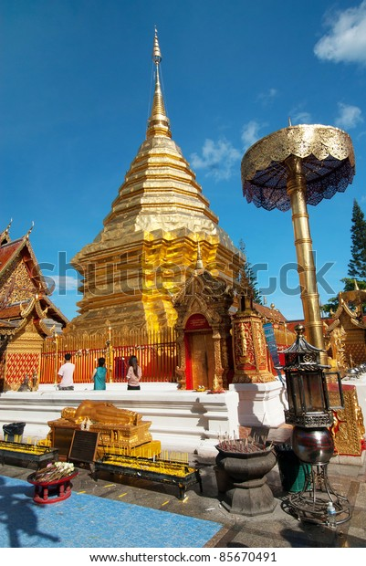 Popular Buddhist Temple of Wat Phrathat Doi Suthep in Chiang Mai, Thailand