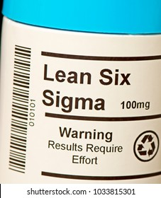 The popular business concept of Lean Six Sigma in tablet form. Note: The Barcode is not real.