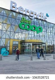 Popular Coop Exterior design supermarket and many shop at Karlstad region ,Sweden 1 April 2018