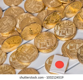 Popular crypto currency bitcoin, litecoin, ripple and ethereum with mini Japanese flag.