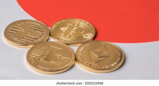 Popular cryptocurrency bitcoin, litecoin, ripple and ethereum against Japanese flag background