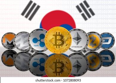 Popular cryptocurrency coins on the background of the flag of South Korea (ROK). Bitcoin (BTC), Litecoin (LTC), Ethereum (ETH), Monero (XMR), Zcash (ZEC), Ripple (XRP), Digitalcash (DASH)