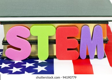 Popular designation of STEM education (Science, Technology, Engineering, and Mathematics) references life and career-ready skills for 21st century success, letters placed on American flag;