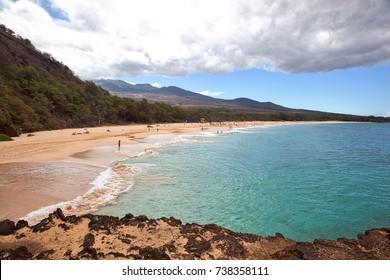 Popular destination know as Big Beach on the island of Maui, Hawaii