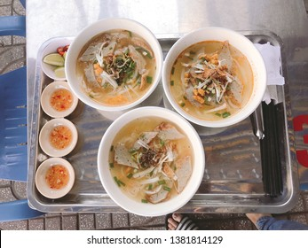 """a popular dish in Vietnam.  """"Banh Canh Cha Ca"""".  Including fish cakes, onions, fish sauce.  Fiber Cake Soup is made from rice flour."""