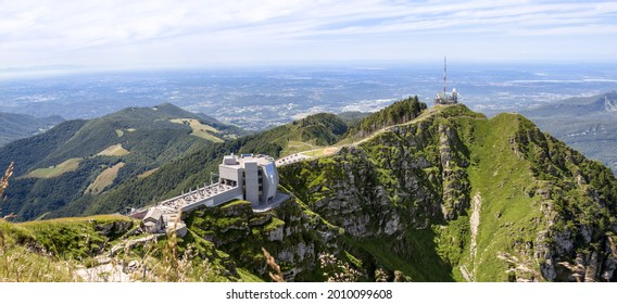 """The popular excursion destination on the 1700 m. high monte Generoso with with the modern restaurant """"Stone Flower"""" designed by Mario Botta, and diverse hiking trails in Canton Ticino, Switzerland"""