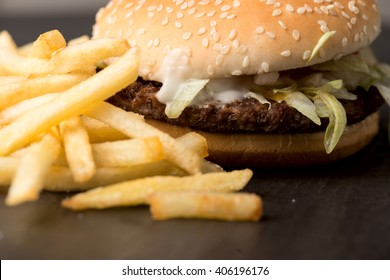 Popular fast food: soft hamburger with fresh meat