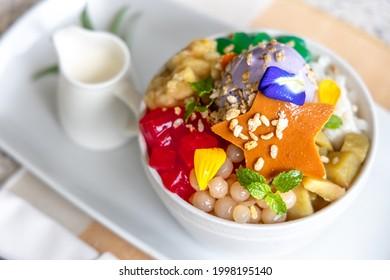 Popular Filipino desert Halohalo on the Table