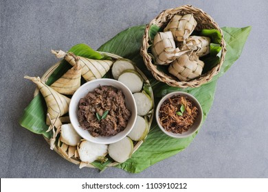 Popular food for breaking fast during ramadan, Ramadan Food, Food like lemang, ketupat, ketupat palas, beef and chicken rendang and serunding, are commonly eaten together