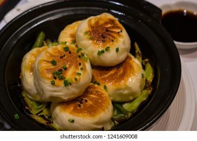 Popular fried buns, Shengjianbao, in Shanghai,  China