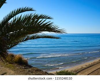 Popular great summer vacation travel destination La Zenia Beach Orihuela Costa South Spain