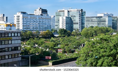 Popular in high density areas of Germany are these garden colonies where apartment dwellers can rent land to grow healthy food themselves. Neiderrad, Germany. August 2019.