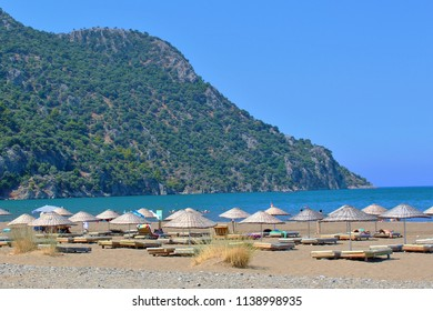 The popular Iztuzu beach near Dalyan, Turkey. This beach is a breeding ground for Loggerhead Sea Turtles and is also referred to as 'Turtle Beach', with a nearby rescue centre for injured Turtles.