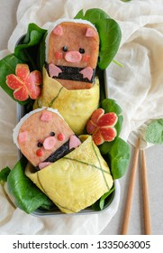 Popular Japanese American snack in Hawaii / Animated Shaped Luncheon Musubi Bento with Salad / Homemade take away meal in bento boxes, ideal for working people and full of nutritional value