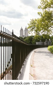 Popular jogging spot near Jacqueline Kennedy Onassis Reservoir, Central park, New York City. No people, selective focus