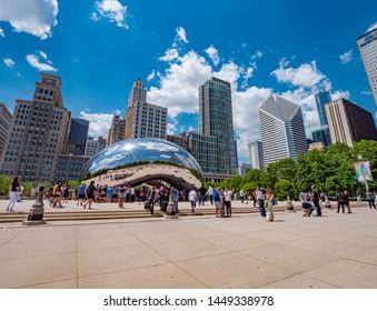 Popular landmark in Chicago - Cloud Gate at Millennium Park  - CHICAGO, ILLINOIS - JUNE 11, 2019