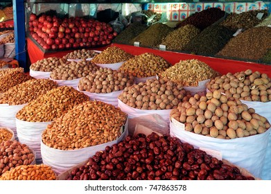 Popular  market in Kashgar. It attracts villagers, nomads and tourists.