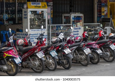 Popular means of transport, scooters in Krabi City, Thailand, Asia, 20. April 2015