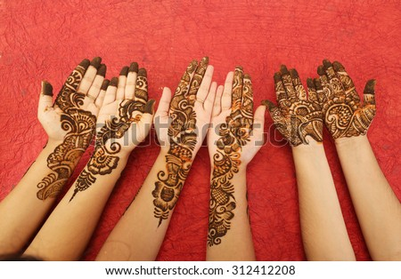 Popular Mehndi Designs Hands Hands Painted Stock Photo Edit Now