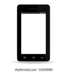 popular mobile smartphone with touchscreen isolated