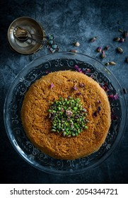 Popular Oriental dessert Knafeh with nuts
