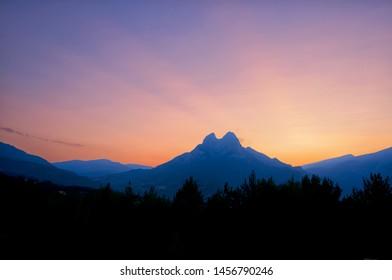 The popular Pedraforca mountain (Berguedà, Catalonia) at sunset.