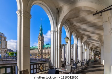The popular shopping area Alsterarkaden in downtown Hamburg,Germany, on a sunny day.