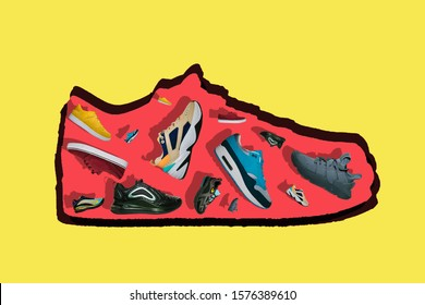 Popular sneakers on a creative colorful trend background. Fashion hype