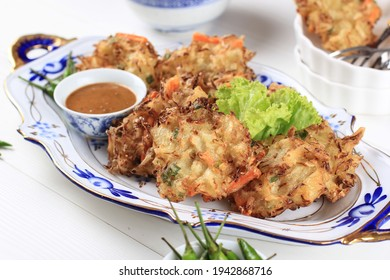Popular Takjil for Breakfasting in Indonesia, Bala-Bala or Vegetable Fritters, Made from Flour Batter with Diced Carrot and Cabbage and Deep Fried
