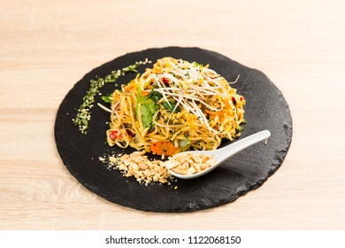 Popular Thai recipe,Pad Thai with  chicken and rice noodles