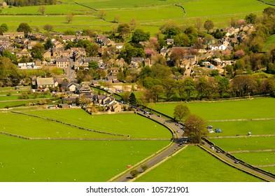 The popular tourist destination of Castleton in Peak District National Park.