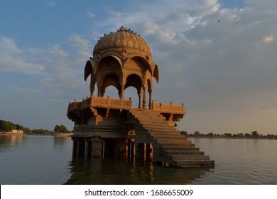 Popular tourist destination in Gadis Sagar Lake In Jaisalmer Rajastan India