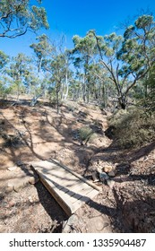 The popular tourist landmark of Werribee Gorge. This is the Centenary Track which ascends to the top of James Whyte Island Reserve.