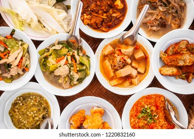 Popular of traditional northern thai food. Eating in north thailand. top view. Thai food concept.