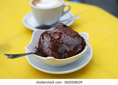 Popular traditional Tartufo di Pizzo desert served with coffee, originated in Calabria, Italy