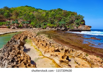 Popular travel destination in East Java - Pantai Batu Bengkung beach with calm water lagoon separated from sea surf by reef barrier. Scenic view of natural swimming pool.  Family vacation in Indonesia