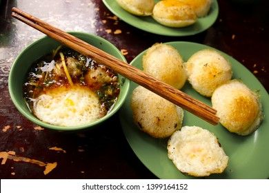 A popular vietnamese breakfast food called banh can nha chung (quail eggs with meatball soup)