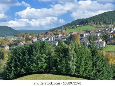 popular Village of Baiersbronn in Black Forest near Freudenstadt,Baden-Wuerttemberg,Germany