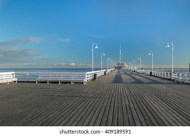Popular walking jetty the longest European wooden sea pleasure pier in Sopot
