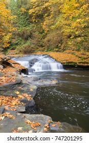 A popular waterfall below Triangle Lake near Eugene Oregon