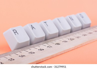 Popularity rating research: concept made of ruler and keys. Selective focus